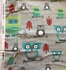 Premier Prints Fabric, 2 Yards Owls Twill-Harmony/Red/Lime. Hard To find!!