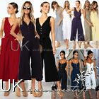 UK Womens Wide Leg Button Cropped Jumpsuit Ladies Belted Romper Playsuit 6 - 16