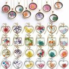 Fashion Natural Dried Flower Pendant Necklace Real Rose Round Heart Glass Locket