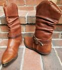Vintage ZODIAC Ketch Brown Slouch Western Cowbiy Boots Brown Leather 6 1/2 M