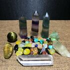 Natural Quartz crystal fluorite wand tiger's eye ball with gravel stone*5287