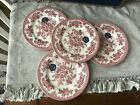 ROYAL STAFFORD 4 NEW RED/PINK ASIATIC PHEASANT SALAD/LUNCHEON PLATES WITH TAGS