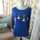 Robbie B Ladies Size S Blue sequin beaded Cowboy Boots Knit Sweater long sleeve