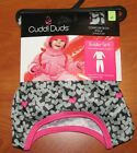 NEW CUDDL DUDS THERMAL LONG UNDERWEAR GIRLS GREY HEARTS TOP & LEGGINGS 2T/3T 4T