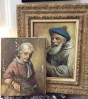 Antique 19th Century Oul Painting Portraits Old Man Woman