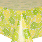 PVC OILCLOTH LEMON & LIME TABLE COVER CITRUS FRUITS GREEN YELLOW MINT WIPE ABLE