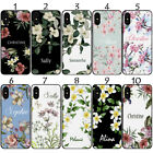 PERSONALISED NAME FLORAL BOTANICAL BLACK CASE FOR SAMSUNG GALAXY MODELS SET - 01
