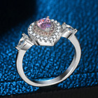 925 Silver Plated Pink Crystal Zirconia Engagement Weddding Rings Band Size 7/8