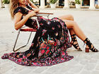 Women Summer Vintage Boho Long Maxi Party Beach Dress Floral Pattern Casual Slim