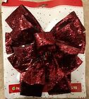 Burgundy Red Glitter Tree Topped Christmas Wired Bow Wreath Mailbox Holiday Time
