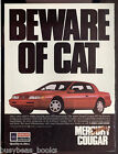 1990 MERCURY COUGAR advertisement, Beware of Cat