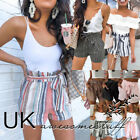 UK Womens High Waisted Black Shorts Beach Belted Striped Pants Size 6 8 10 12 14