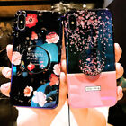 Blue Ray Glossy Flower Phone Case Cover For Phone XS Max/XR/8/7/6s Plus+Holder A