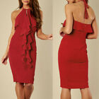 CA Women's Solid Ruffled Knee-Length Lace-Up Dress Ladies Party Cocktail Dress