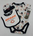 NFL Chicago Bears Newborn Bodysuit, Bib, and Cap White AOP Size 3-6 Months