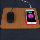 10W Wireless Charging USB PU+Wooden Mouse/Mice Pad For PC Laptop 30x22CM