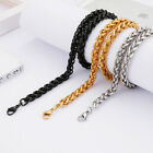 8mm 24'' Braind Rope Chain Stainless Steel Hip-Hop men's boys Jewelry Necklace