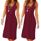Women Summer Sleeveless Printed Plain Pleated Holiday Boho Maxi Beach Mini Dress