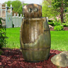 Sunnydaze Old Time Saloon Barrel Outdoor Water Fountain with LED - 31 Inch Tall