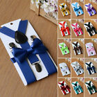 UK Matching Braces Elastic Suspenders Bow Tie Set Kids Children Boys Wedding New
