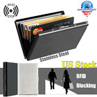 Stainless Steel ID Credit Card Holder Case Slim RFID Blocking Anti-scan Wallet image