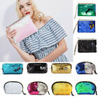 Women Reversible Sequin Toiletry Cosmetic Make Up Wash Bags Travel Purse Handbag