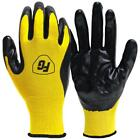 General Purpose Nitrile Coated Gloves 30 Pair Fabric Latex Free Yellow Black New
