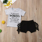 Toddler Baby Girl Summer Clothes Short Sleeve Tops+Tassel Shorts 2PCS Outfit Set