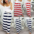 Daily Womens Fashion Ankle-Length Lace-Up Stripe Hight Waist Maxi Long Skirt