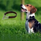 Adjustable Leather Dog Collar With Stainless Steel Chain For Medium