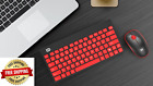 FUDE 1500 Wireless Keyboard Mouse Combo with Ergonomic Design - Red/Black