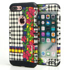 For Apple iPhone - KoolKase Hybrid ShockProof Cover Case - Plaid Flower 14