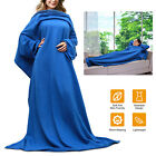 Wearable Fleece Sofa Blanket With Sleeves Cozy Micro Plush Warm for Adult image