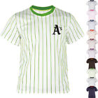 KH2008 New Oakland Athletic Striped Baseball Jersey T-Shirt Tee Uniform Dry 0111 on Ebay
