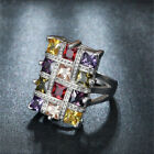 925 Silver Multi Color Topaz Gemstone Ring Wedding Jewelry Gift Woman Size 6-10 image