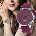 Fashion Leather Women Girl Unisex Stainless Steel Quartz Dress Wrist Watch Gift image