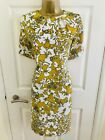 M&S Collection Mustard Yellow Floral Evening Office Smart Mini Shift Dress