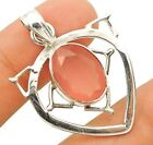 """Buy Now 5CT Faceted Rose Quartz 925 Sterling Silver Pendant Jewelry 1 1/2"""" Long"""