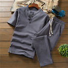 Summer Fashion Men Cotton And Linen Short Sleeve Loose Shorts Set Suit Tracksuit