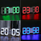 LED Digital Numbers Wall Clock 3D Brightness Alarm Snooze Timer Clock 4 Colors