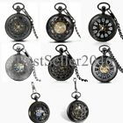 Mens Black Vintage Skeleton Mechanical Pocket Watch Chain Fob Windup Steampunk