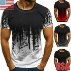Men's Crew Neck Long Sleeve T Shirts Casual Slim Fit Muscle Tee Tops Blouse USA image