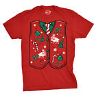 Mens Ugly Xmas Sweater Vest Tshirt Funny Christmas Party Tee For guys