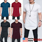 MEN'S T-SHIRT EXTRA LONG TALL BODY URBAN TEE OVERSIZED PLAIN TOP OFFER image