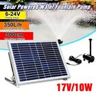 10W 17V Solar Panel Powered Fountain Submersible Water Pump Pond Garden Watering