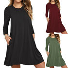 Women's Long Sleeve Day Dress with Side Pockets Swing Fall Tunic T-Shirt Casual