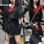Women's Solid Color Cosplay Shirt Bow Pleated Skirt Japanese Uniform Suit HOT
