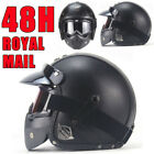 Vintage Motorbike Motorcycle Crash Helmet Leather Open Face Safe Helmet + Mask