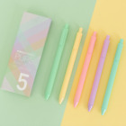 5PCS Macaron Notebook Color Gel Ink Pen Ballpoint Writing Pens Office Collection