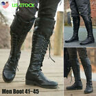 US Mens Motorcycle Riding Pirate Boots Steampunk Knee High Lace Up Costume Shoes